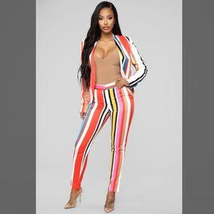 """Fashion Nova """"Show off your stripes"""" 2 piece set"""